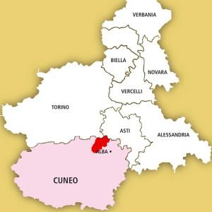 In rosso, il territorio del Roero, in provincia di Cuneo.