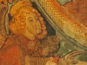 Affresco quattrocentesco all'interno della Chiesa di Madonna dei Boschi a Vezza d'Alba.