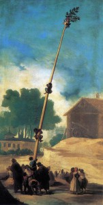 """Dipinto di Francisco Goya intitolato """"il palo unto o la cuccagna"""" 1786-1787"""
