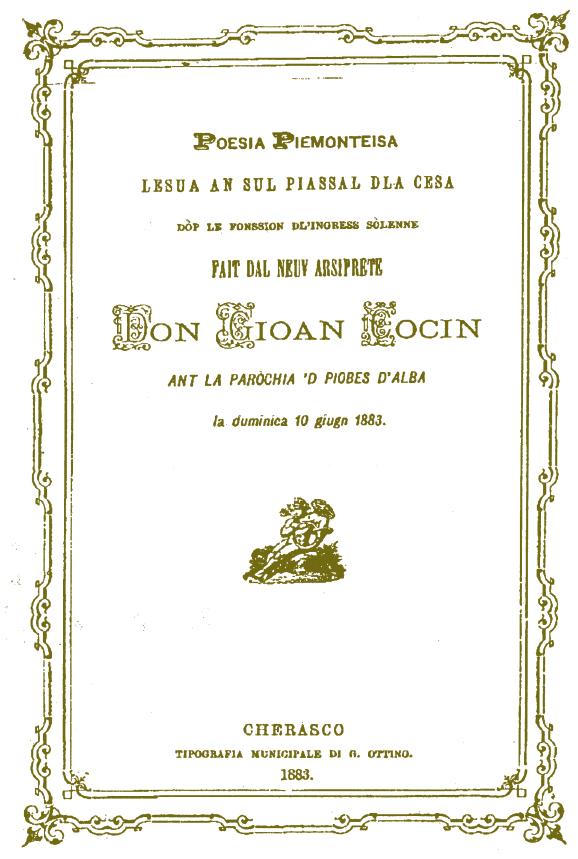 Frontespizio del testo recante la poesia in piemontese scritta da Danna, letta in occasione dell'ingresso di Don Coccino nella Parrocchia di Piobesi, il 10 giugno 1883.