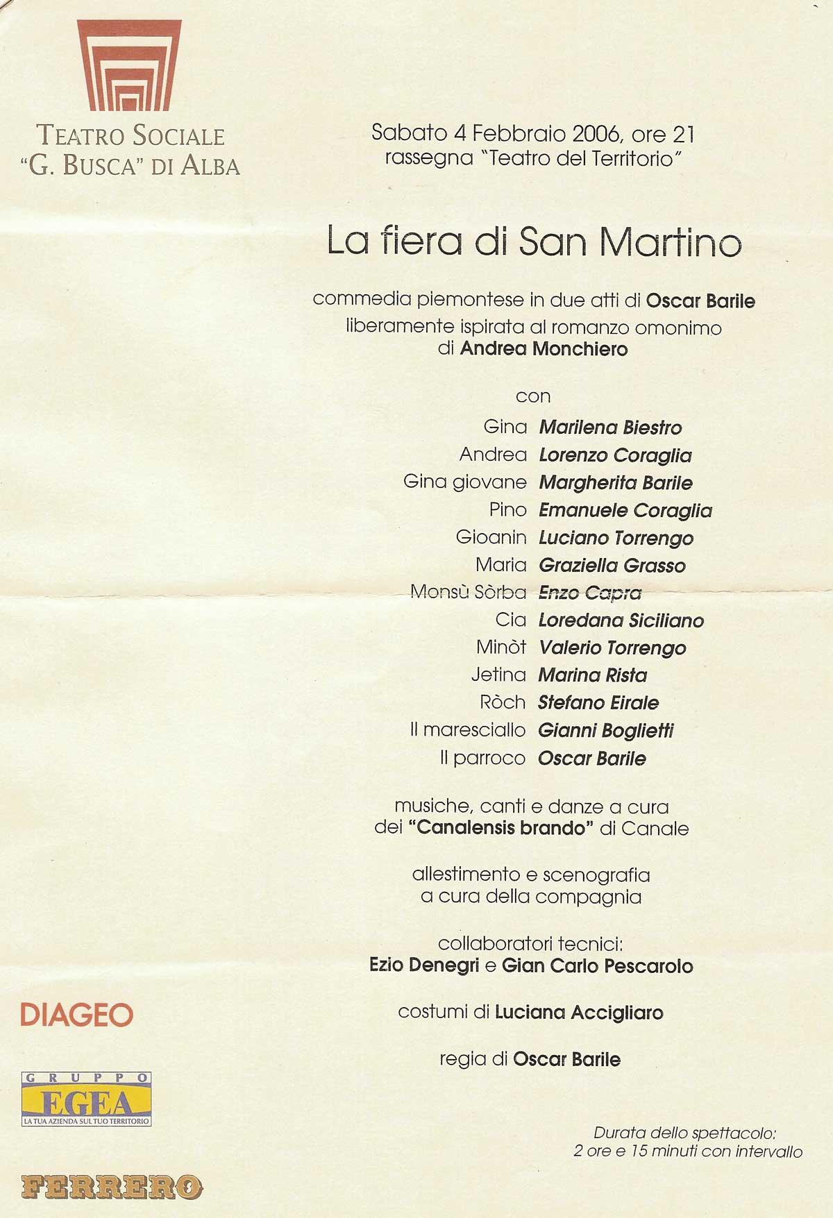 """La locandina dello spettacolo teatrale dedicato a """"La Fiera di San Martino"""", che ha debuttato al Teatro Sociale di Alba il 4 Febbraio 2006."""