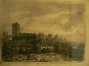 La Parrocchiale di Ceresole d'Alba in un disegno di Vittorio Caccia.